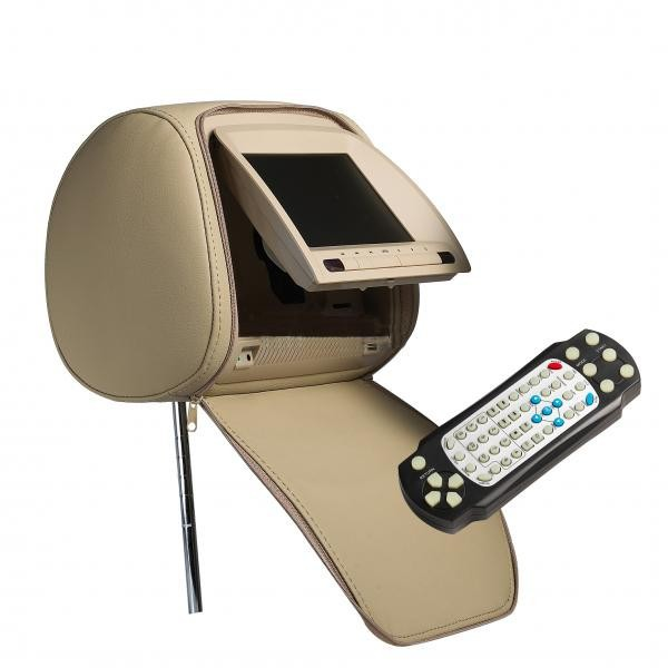"Opěrka hlavy - 7"" LCD, DVB-T, DVD, Zip kryt, 480 x 234, BÉŽOVÁ"